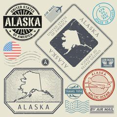 Retro vintage postage stamps set Alaska, United States