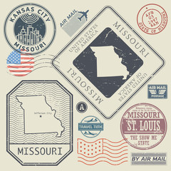 Retro vintage postage stamps set Missouri, United States