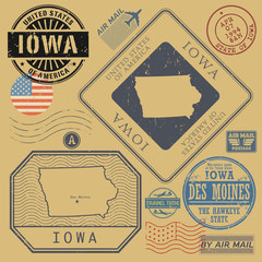 Retro vintage postage stamps set Iowa, United States