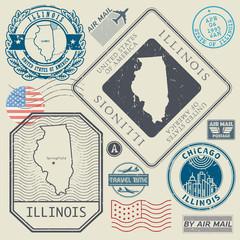 Retro vintage postage stamps set Illinois, United States