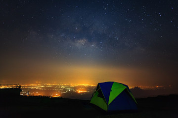 Milky way galaxy with dome tent at Phutabberk Phetchabun in Thailand.Long exposure photograph.With grain