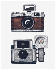 Photo camera vintage, engraved hand drawn in sketch or wood cut style, old looking retro lens, isolated vector realistic illustration