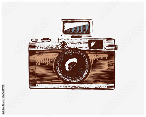 Camera Vintage Vector Free : Photo camera vintage engraved hand drawn in sketch or wood cut