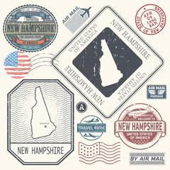 Retro vintage postage stamps set New Hampshire, United States