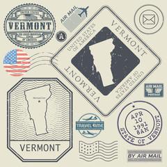 Retro vintage postage stamps set Vermont, United States