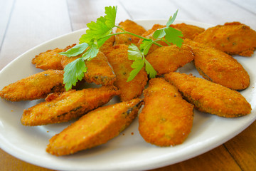 Breaded mussels traditional spanish recipe