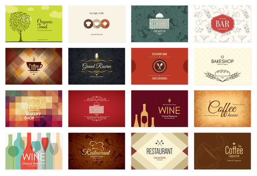 Business card big set. 16 bright visiting cards. Food and drink theme. For cafe, coffee house, restaurant, bar