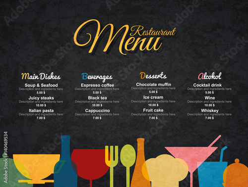 Restaurant menu design vector menu brochure template for for Bar food 46 levallois