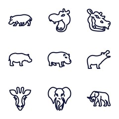 Set of 9 african outline icons