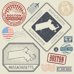 Retro vintage postage stamps set Massachusetts, United States