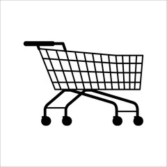 Supermarket Shopping Empty Cart Isolated on White