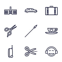 Set of 9 clipart outline icons