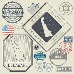 Retro vintage postage stamps set Delaware, United States