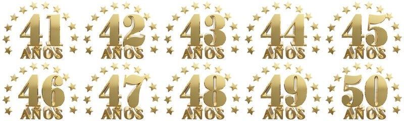 Set of gold numbers and lettering of the year, decorated with stars. Translated from the Spanish - years. 3D illustration