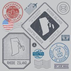 Retro vintage postage stamps set Rhode Island, United States
