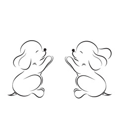 Black outline drawing of two little puppies isolated on white background