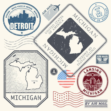 Retro vintage postage stamps set Michigan, United States
