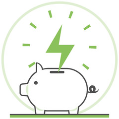 Save Energy - Infographic Icon Elements from Nature and Ecology Set. Flat Thin Line Icon Pictogram for Website and Mobile Application Graphics.