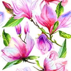 Wildflower magnolia flower pattern in a watercolor style isolated.
