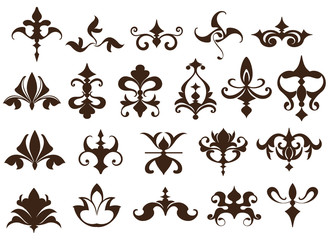 Art deco design elements of vintage ornaments and borders corners of the frame Isolated art nouveau flourishes Simple elements of floral ornaments and monograms on a white background