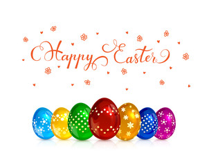 Multicolored decorative Easter eggs on white background