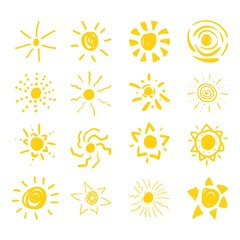 Set of sun symbols hand drawn by yellow and red highlighters. Optimized for one click color changes. Vector in EPS10 format with transparent colors.