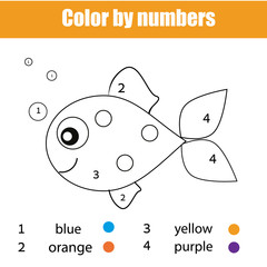 Coloring page with fish character. Color by numbers educational children game, drawing kids activity