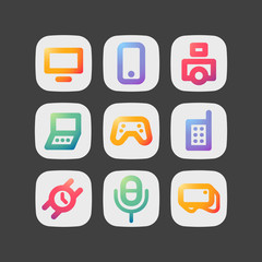 Simple modern colorful icons. Gadgets theme set.