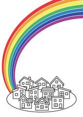 シンプルな住宅街と虹(線画)
