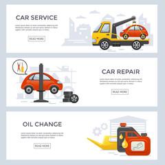 Car service banner set, flat design, vector illustration