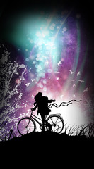 Travel the world anime girl cycling the globe silhouette art photo manipulation