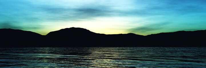 Beautiful sea sunset, light above the ocean, sunrise at the sea,