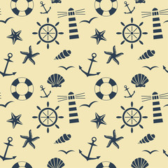 nautical seamless pattern vector background