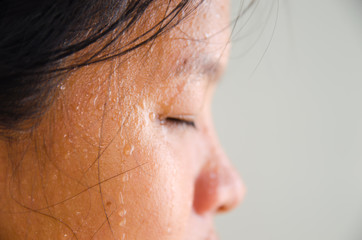 Sweat on the face of woman,excercise