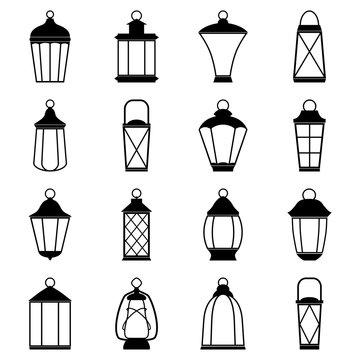 Set of lantern icons, vector illustration