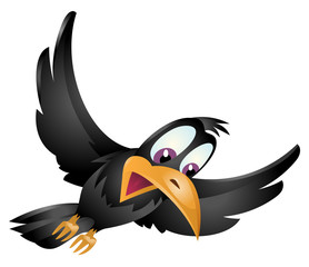 Surprised сrow flying in sky. Cartoon styled vector illustration. Isolated on white. No transparent objects.