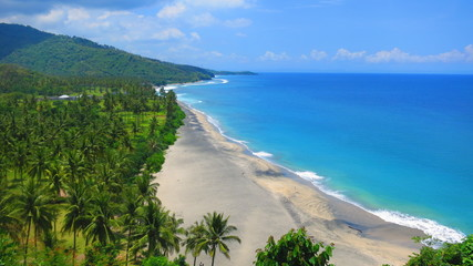 Aerial view of beautiful beach on Lombok Island, Indonesia