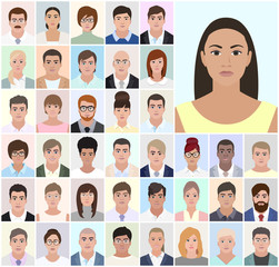 Portrait of different people business, job, vector illustration