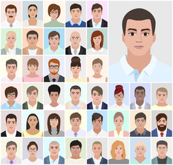 Portrait men, business people, vector illustration