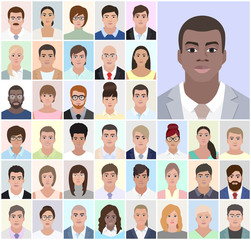 Portrait of African men, business people, vector illustration
