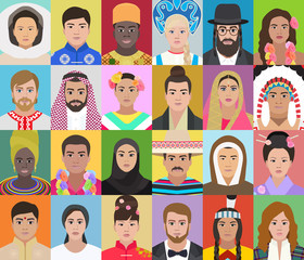 Portraits of people of different nationalities, vector illustration