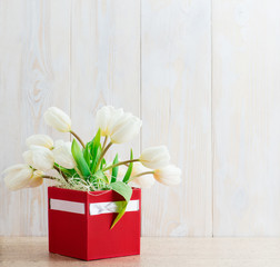 White tulips in a box