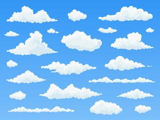 Cartoon cloud set. White clouds on blue sky. Flat vector illustration.