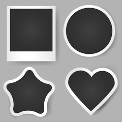 Vector realistic photo frames. Different shapes. Classic, star, circle, heart. Template for applications and design