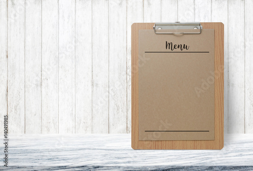 Blank Menu Paper Notepad On Stone Table Top At Grey Old Wooden WallTemplate Mock