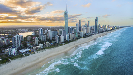 Aerial view of sunset over Surfers Paradise and beach. Gold Coast Australia