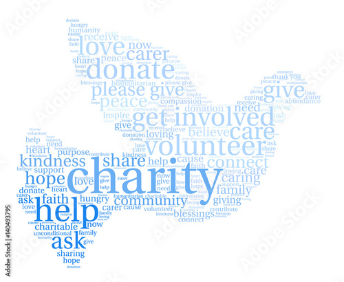 Charity Word Cloud on a white background