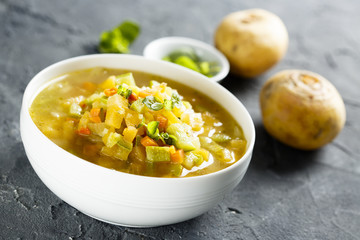 Homemade soup with turnip and other vegetables