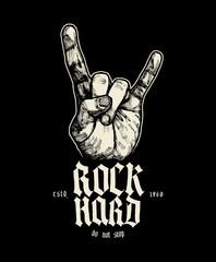rock hard sign of horns music print