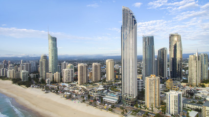 Aerial view of Gold Coast Surfers Paradise cityscape and famous beach
